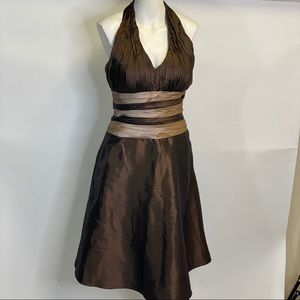 NWOT Bill Levkoff Brown Tan Halter dress sz 8